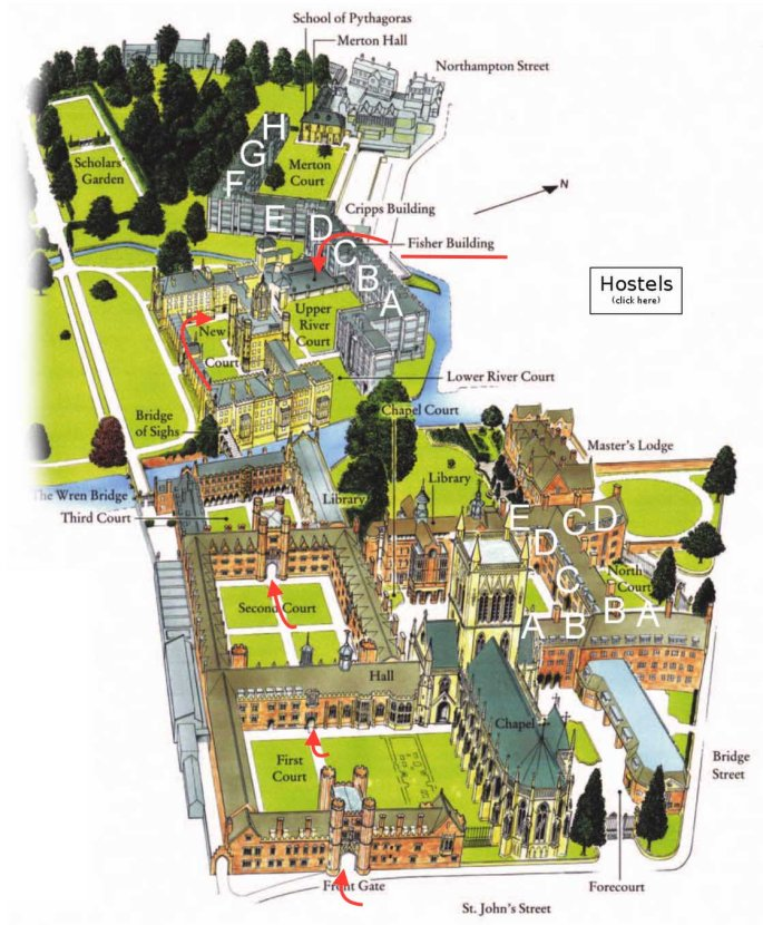 st johns college map